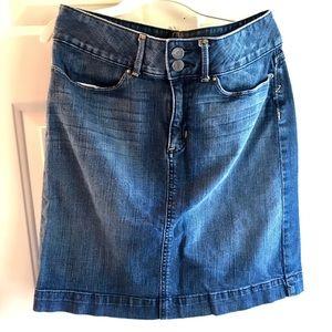 Denim skirt buttons at the waist